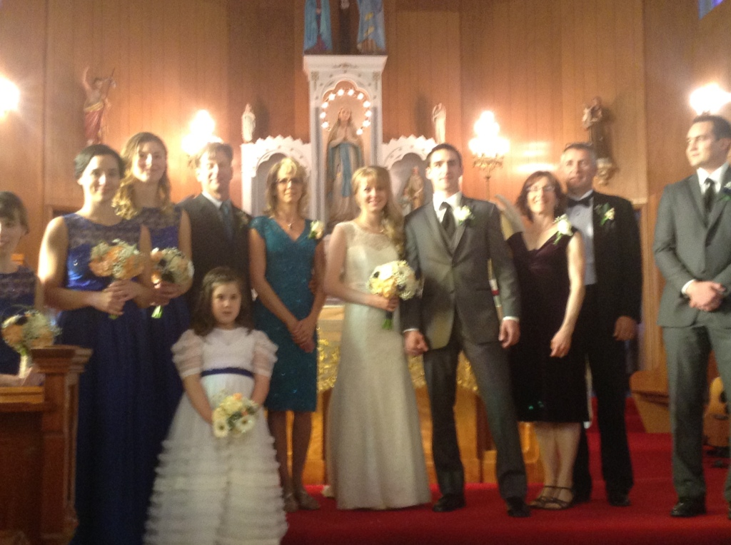 Kaitlyn and Marshall's wedding party. Dale and Sharon are just to the left of the bride. :)