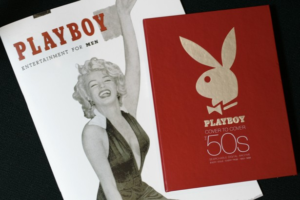 The first issue of Playboy magazine featuring Marilyn Monroe, left, and a boxed DVD set of Playboy magazines from the 1950's are shown in New York on Monday, July 16, 2007. The $100 boxed DVD, produced by Bondi Digital Publishing, will be available in retail outlets on Nov. 2, or online at covertocover.com. Bondi Digital Publishing has also produced cover-to-cover archives of Rolling Stone and The New Yorker. (AP Photo/Mark Lennihan)