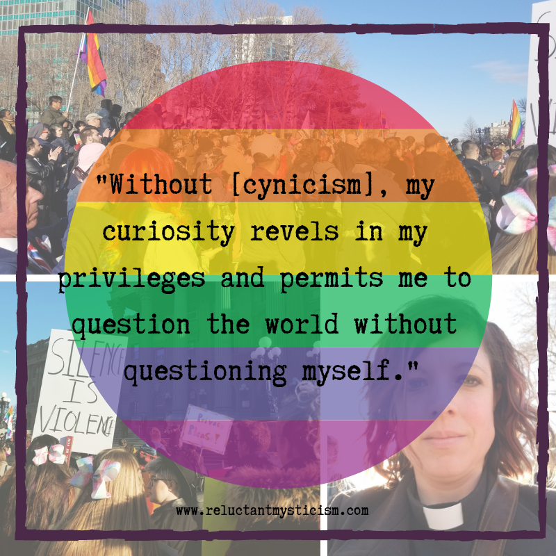 """Array of 3 photos of people standing with pride flags and signs at a rally. Text reads: """"Without [cynicism], my curiosity revels in my privileges and permits me to question the world without questioning myself."""" www.reluctantmystcism.com"""