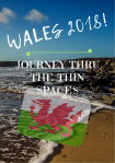 "Welsh coast on a sunny day with a transparent welsh flag in the foreground. Text read ""Wales 2018: Journey Through Thin Spaces"